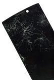 Moderner mobiler Smartphone mit dem defekten Schirm lokalisiert auf weißem Ba Stockfoto
