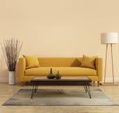 Moderner moderner Innenraum mit einem gelben Sofa im Wohnzimmer mit einer weißen minimalen Badewanne Lizenzfreies Stockbild