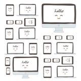 Moderner Monitor, Computer, Laptop, Telefon, Tablette auf einem weißen Hintergrund Stockfotos