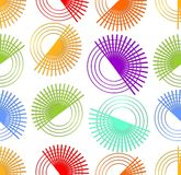 Moderner nahtloser abstrakter Hintergrund mit dem Drehen von bunten Elementen Stockbild