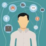 Moderner Netzgeschäftsmann der flachen Art mit Tätigkeitsikonen um ihn Lizenzfreie Stockfotografie