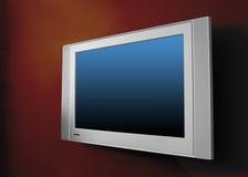Moderner Plasmafernsehapparat auf brauner Wand stockfotos