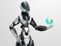 Moderner Roboter, der den globalen Cyborg Bereich/3d nimmt Steuerung die Erde hält Stockfoto