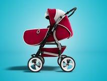 Moderner roter Kinderwagentransformator ganzjähriges 3d übertragen auf Blauem stock abbildung