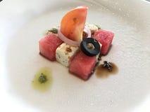 Moderner Salat der Wassermelone und des Fetas Stockfotografie