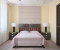 Moderner Schlafzimmerinnenraum. Lizenzfreie Stockbilder
