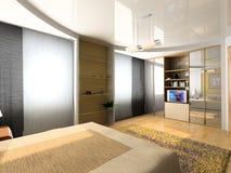 Moderner Schlafzimmerinnenraum stock abbildung
