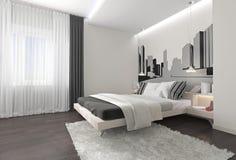 Moderner Schlafzimmerinnenraum mit dunklen Vorhängen stockfotografie