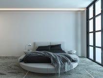 Moderner Schlafzimmerinnenraum mit enormem Fenster Stockfotos