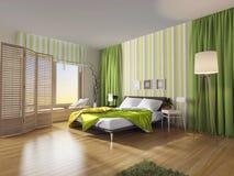 Moderner Schlafzimmerinnenraum mit grünem Vorhang Lizenzfreies Stockfoto