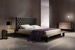 Moderner Schlafzimmerinnenraum mit hölzernen Wänden stockfoto