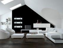 Moderner Schwarzweiss-Dachbodenwohnzimmerinnenraum Stockfotos