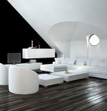 Moderner Schwarzweiss-Dachbodenwohnzimmerinnenraum Stockfotografie