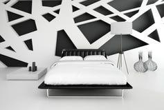 Moderner Schwarzweiss-Schlafzimmerinnenraum Stockfotografie