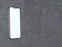 Moderner silberner Smartphone lokalisiert auf dem weißen Zylinder mit Kontrastschatten Telefon der Wiedergabe 3d, Vertretung, onl vektor abbildung