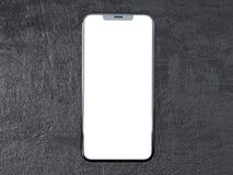 Moderner silberner Smartphone lokalisiert auf dem weißen Zylinder mit Kontrastschatten Telefon der Wiedergabe 3d, Vertretung, onl lizenzfreie abbildung