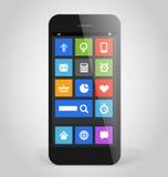 Moderner Smartphone mit Fliesenschnittstellen-Farbikonen Stockfotos