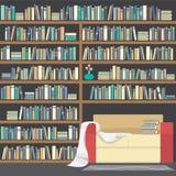 Moderner Sofa With Huge Bookshelf stock abbildung