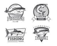 Moderner Sommer Logo Badge Illustration fischend Lizenzfreie Stockfotos