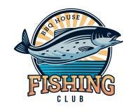 Moderner Sommer Logo Badge Illustration fischend Lizenzfreie Stockfotografie