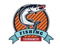 Moderner Sommer Logo Badge Illustration fischend Lizenzfreie Stockbilder