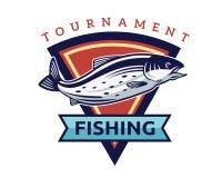 Moderner Sommer Logo Badge Illustration fischend Stockfotografie
