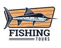 Moderner Sommer Logo Badge Illustration fischend Stockbilder
