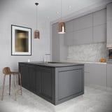 Moderner städtischer zeitgenössischer Gray Kitchen Interior Lizenzfreie Stockfotografie