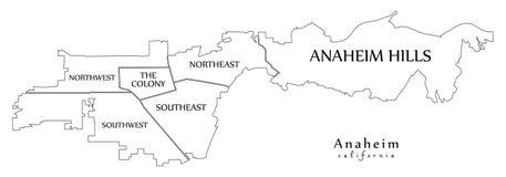 Moderner Stadtplan - Stadt Anaheim Kalifornien der USA mit neighb Stockfotos