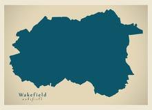 Moderner Stadtplan - Wakefield-Stadt von England Großbritannien vektor abbildung