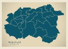 Moderner Stadtplan - Wakefield-Stadt von England mit Bezirken Großbritannien lizenzfreie abbildung