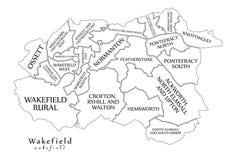 Moderner Stadtplan - Wakefield-Stadt von England mit Bezirken und Titel vektor abbildung