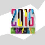 Moderner Vektor knallen oben Grußkarte des neuen Jahres der Buchstaben der Art bunte Lizenzfreies Stockbild