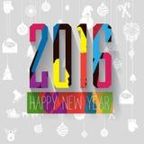 Moderner Vektor knallen oben Grußkarte des neuen Jahres der Buchstaben der Art bunte Stockfoto