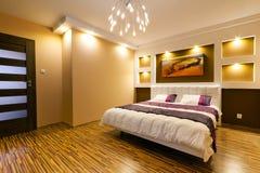 Moderner Vorlagenschlafzimmerinnenraum Lizenzfreies Stockfoto