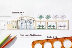 Moderner Wandbrunnen des Landschaftsarchitekt-Designs Stockfoto