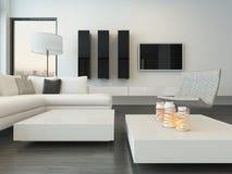Moderner weißer Wohnzimmerluxusinnenraum lizenzfreie abbildung