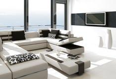 Moderner weißer Wohnzimmerinnenraum mit herrlicher Meerblickansicht Lizenzfreies Stockbild