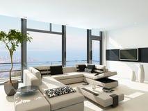 Moderner weißer Wohnzimmerinnenraum mit herrlicher Meerblickansicht Lizenzfreies Stockfoto