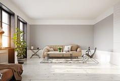 Moderner Wohnzimmer-Innenraum Stockbild