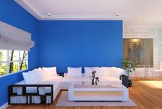 Moderner Wohnzimmerinnenraum mit Möbeln und blauer leerer Wand vektor abbildung