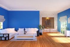Moderner Wohnzimmerinnenraum mit Möbeln und blauer leerer Wand lizenzfreie abbildung