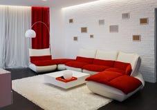 Moderner Wohnzimmerinnenraum mit rotem Sofa Stockfotos
