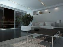 Moderner Wohnzimmerinnenraum nachts Stockbilder