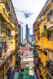 Moderner Wolkenkratzer Stadt Saigon, Ho Chi Minhs und altes Wohngebäude, Asia Pacific, Vietnam stockfoto