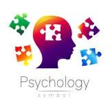 Moderner Zugzielanzeiger von Psychologie Puzzlespiel Profil-Mensch Kreative Art Symbol im Vektor Konzept des Entwurfes Markenfirm Stockbilder