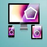 Modernes Anwendungsschablonendesign für Unternehmensidentitä5 Computertabletten- und -telefonsatz Stockfotografie