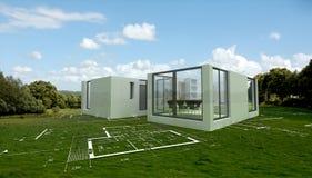 Modernes Architekturprojekt in der Landschaft, Stockfotografie