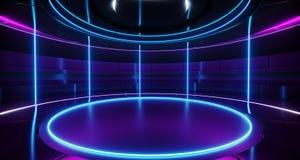 Modernes ausländisches futuristisches Retro- rundes leeres Stadium High-Teches R Sci FI stock abbildung