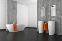 Modernes Badezimmer mit Betonmauer und dunklem Boden Stockbild